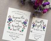 Hand-Painted (Watercolor) Rustic Wedding Invitation