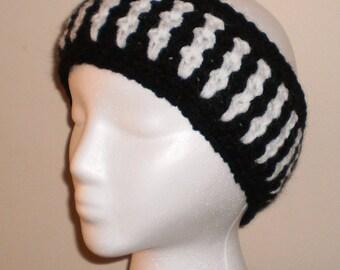 Crocheted Ear Warmer Headband - Black and White  - Crochet Earwarmer