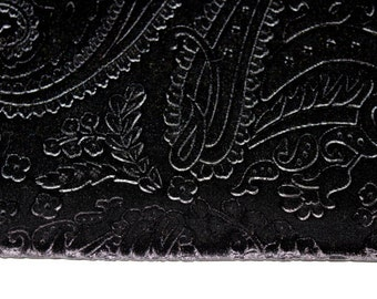 Black Paisley Velvet Plush Fabric for Fashion and Crafts Supplies
