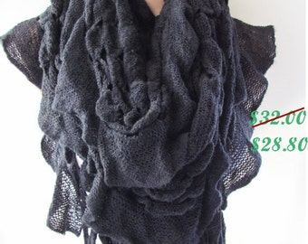 Black Knitted Fabric Scarf - Shawl Scarf - Neck Warmer, Winter Accessories, Fall Fashion, Holiday Accossories,Gift For Valentines
