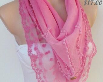Pink Scarf -Triangle Shawl Scarf-New Season-Lace Scarf-Necklace-Pashmina Scarf- Neckwarmer- Infinity Scarf