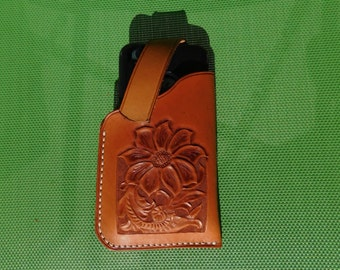 Leather Cell Phone Holster for iPhone 6 - Western Flower Design