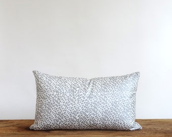 Metallic silver and hand dyed linen pillow