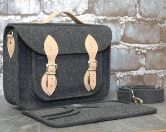 Felt Macbook 11 inch satchel, Laptop bag, sleeve, Macbook Air 11 inch, Casual bag, Shoulder bag with leather strap