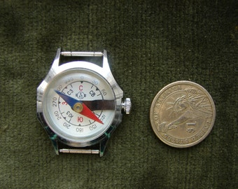 Vintage Soviet Union era Wrist watch - Compass / Made in USSR  / Chistopolj CHCHZ Vostok made watch type compass / Authentic wrist compass
