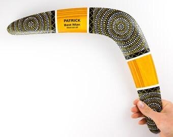Mens personnalisé Boomerang «Soleil d'or», cadeaux de bureau pour lui, idée cadeau homme, cadeau pour homme en bois, jeu de plein air de l'Australie, pour homme