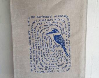PURE LINEN TEATOWEL, Aston the Azure Kingfisher, Hand screen printed.