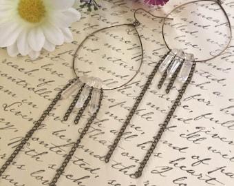 Handmade Clear Crystal Quartz Hoop Drop Earrings // Crystal Earrings // Gypsy Earrings // Bohemian Earrings