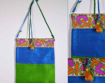 Lime and Blue Raw Silk Sling Bag - Wedding Gift - Silk Sling Bag - Gift for Girl Friend - Mother's Day Gift - Handmade OOAK Bag