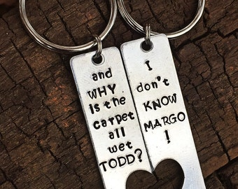 Couples keychain, christmas vacation, handstamped keychain, his and hers keychain, his and hers gift, todd and margo