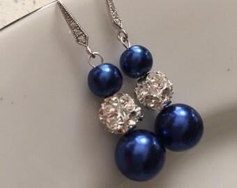 Navy blue silver earrings,dark blue pearl earrings,blue pearl earrings,blue drop earrings,bridal earrings,wedding earrings,birthday gift