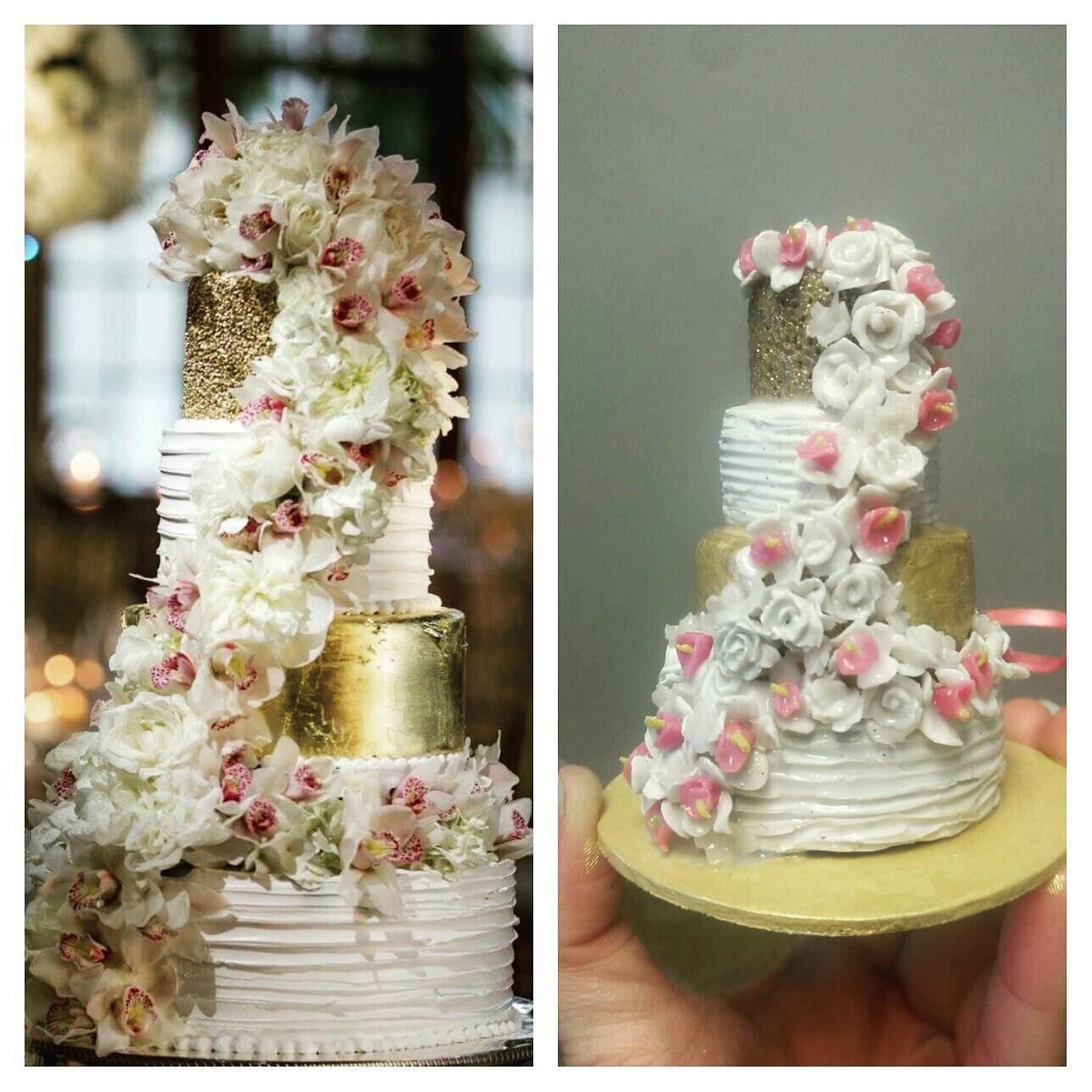 Custom Wedding Cake Replica Ornament Personalized Miniature
