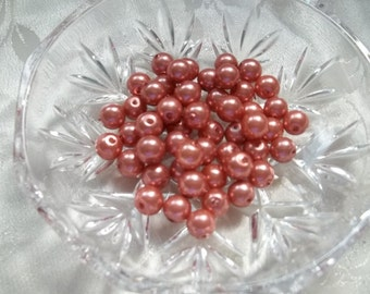 Peach Glass Pearls 8mm Copper Rose Gold Set of 25 #1432