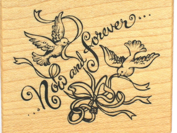 Wedding rubber stamp wedding now forever rubber stamp wood for Wedding dress rubber stamp