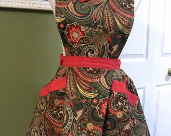 Forest Green & Red Festivities/full apron/half apron