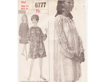 1960's (1966) Dress & Slip Pattern,.  Vintage sewing pattern. Size 14, Bust 86cm-34""