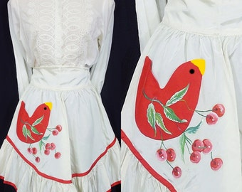 Vintage Apron Cherries and Red Bird 50s Party Hand Painted Taffeta