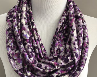 Purple Leopard Print Scarf, Purple Scarf, Animal Print Scarf, Women's Scarf, Purple Infinity Scarf, Gift for Her, Gift Under 20