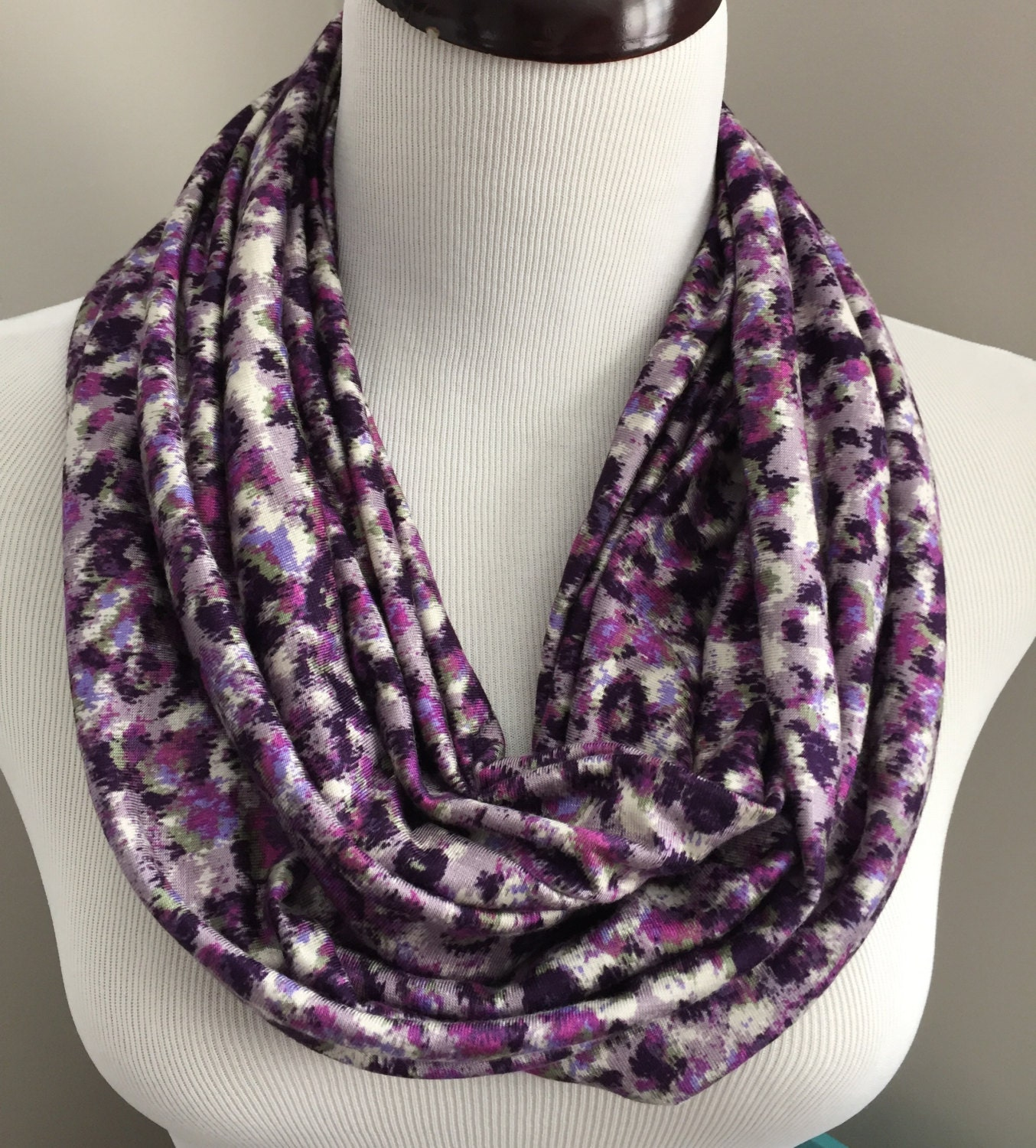Purple Leopard Print Infinity Scarf Animal Womens Birthday Gift For Her