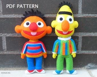PDF pattern to make a felt Ernie and Bert (Epi y Blas).