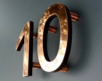 "Modern Contemporary 4"" high floating House numbers in Antigoni, copper faced - Polished and  lacquered"