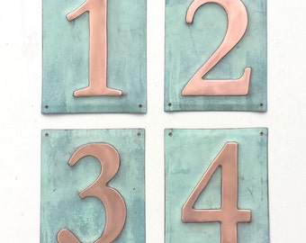 "Metal house plaque  6""/150mm number  in polished and   patinated copper sheet, 1 x number o"