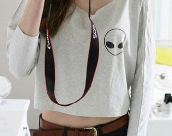 Alien shirt funny shirt cool shirt women sweatshirt women 3/4 sleeve off shoulder sweatshirt dolman top oversized 3/4 sleeve women tshirt