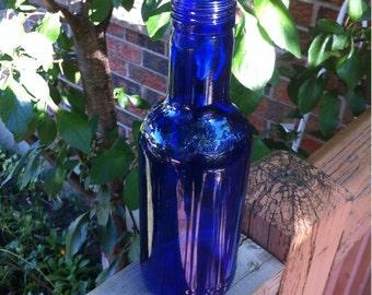 Vintage Decorative Cobalt Blue  Twenty Ounces Glass Bottle Ferolito Vultaggio & Sons