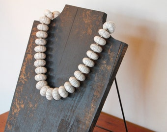 Chunky Necklace - Tibetan Beads - Classic Statement Jewelry - Crackled White Ivory Gray Grey