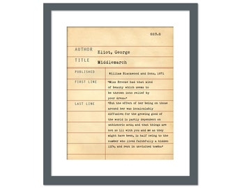 Middlemarch by George Eliot - Library Card Art Print - Book Lovers Poster - Library Poster - Book Gift - Dewey Decimal System - Teacher Gift