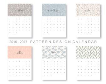 Pattern design dated Printable Calendar 2016-2017  Planner Download - floral, PDF Instant download