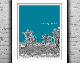 1 Day Only Sale 10% Off - Delray Beach Skyline Poster Art Print Florida Version 1