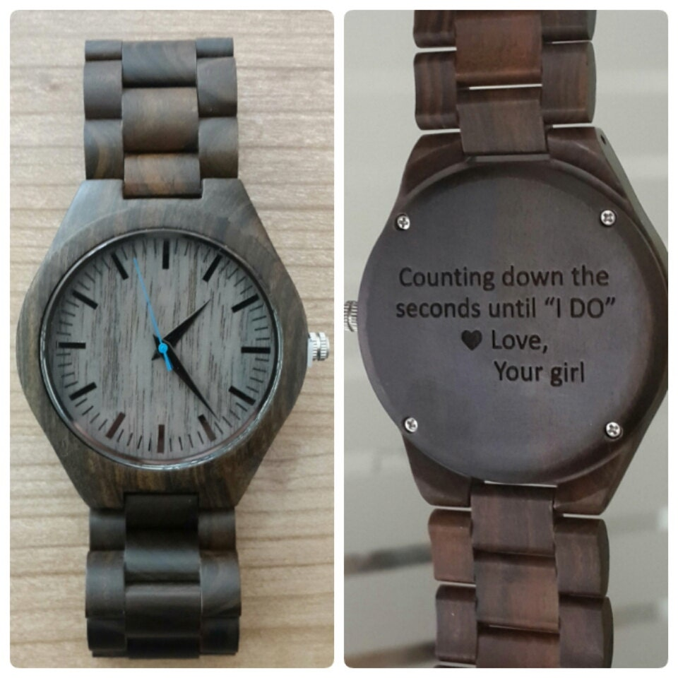 Wooden watch engraved wood watch personalized wood by sfdizayn for Watches engraved
