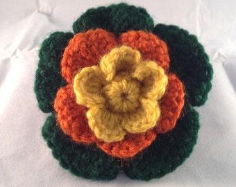 Crochet Flower Accessory Clip Yellow, Orange, Green