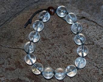 FREE SHIPPING WORLDWIDE-Clear Quartz Bracelet-Gemstone Bracelet-Men's Bracelet-Leo Birthstone-Unisex Bracelet-Adjustable Bracelet-Reiki Gift