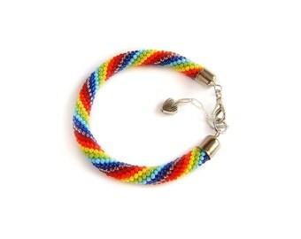 Rainbow bracelet Gay pride bracelet LGBT bracelet Friendship bracelet Seed bead crochet rope striped bracelet Colorful bracelet Lesbian gift