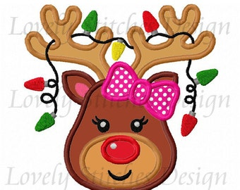 Reindeer for girls Applique Machine Embroidery Design NO:1847