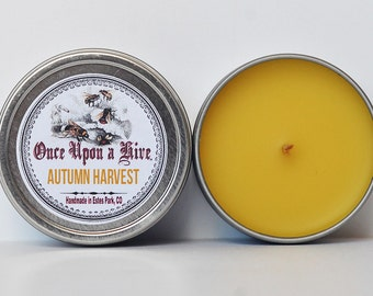 Autumn Harvest Beeswax Candle Tin | 4 oz. Candle | Natural | Travel Tin | Container Candle | Scented