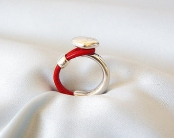 Red Leather Half Hook Heart Ring