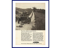 """GUARDIAN MAINTENANCE Original 1968 Vintage Black & White Print Ad - 1904 Oldsmobile Horseless Carriage """"Once The Outdoors Meant Fresh Air"""""""