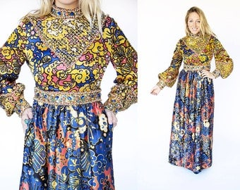 RARE 1970's 1960's Designer Beaded and Silk Bohemian Bell Sleeve Maxi Dress Gown Gypsy