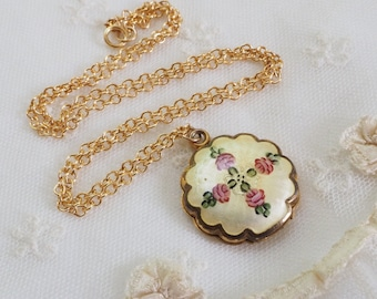 Vintage Hand Painted Guilloche Enamel Gold Filled Locket - Pink Rose on Soft Yellow Necklace - 14K GFChain - Signed LaMode