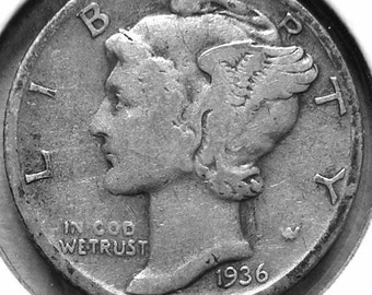 1936 S Mercury Dime Silver  #2690, Hard to Find Coin