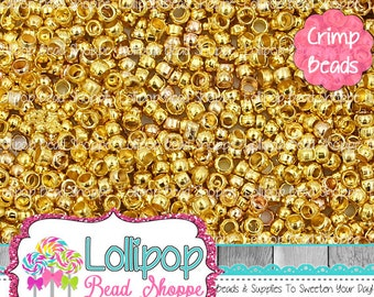 2mm Gold Crimp Beads - 2mm Crimp Beads - Crimp Tube Beads - Crimp Barrel Beads - Gold Tone Crimp Bead - Gold Plated Crimps