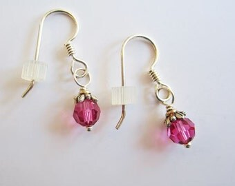 Fuchsia Swarovski 6mm Crystal Earrings