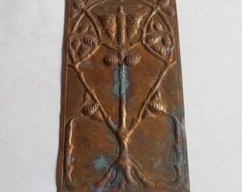 vintage bronze relief butterfly and tree wall hanging ornament
