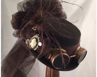Steampunk Top Hats, Stempunk Shop, Steampunk Attire, Steampunk Wedding, Brown, Bronze Goggles