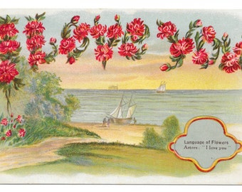 I Love You - Language of Flowers Postcard, c. 1910