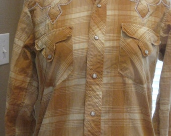 1950s-60s Womens Golden/Tan Plaid Tem-Tex Western Blouse/Hipster/ Chic/ Boho/ Cowgirl/ Country Western Shirt Size S