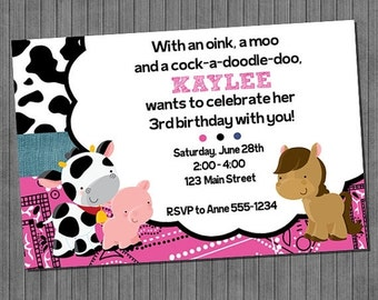 FLASH SALE 50% OFF Barnyard Invitations, girl and boy
